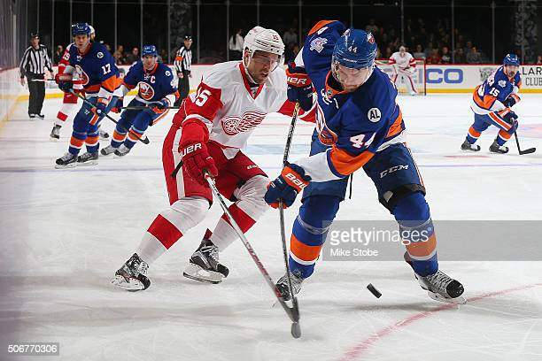 Calvin de Haan of the New York Islanders pursues the puck in front of Riley Sheahan of the Detroit Red Wings during the game at the Barclays Center...