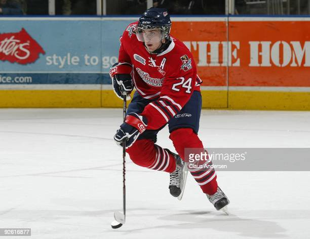 Calvin de Haan of the Oshawa Generals skates with the puck in a game against the London Knights on October 30 2009 at the John Labatt Centre in...