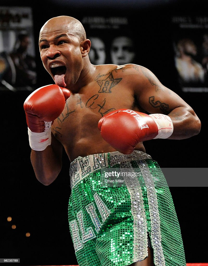 Calvin Green reacts to a punch from Sergio Mora in the first round of their middleweight bout at the Mandalay Bay Events Center April 3, 2010 in Las Vegas, Nevada. Mora won by TKO in the seventh round.