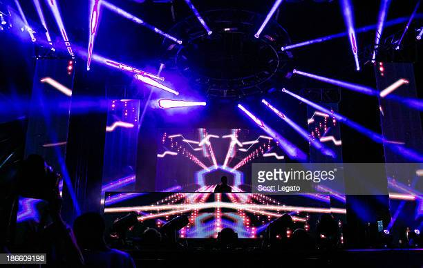 Calvin Harris performs at the 2013 Voodoo Music Arts Experience at City Park on November 1 2013 in New Orleans Louisiana