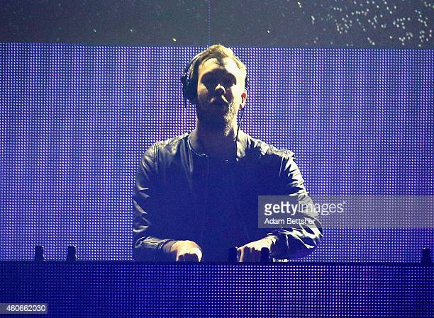 Calvin Harris performs onstage during 1035 KISS FM's Jingle Ball 2014 at Allstate Arena on December 18 2014 in Chicago Illinois