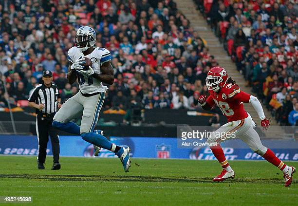 Calvin Johnson of Detroit Lions catches the pass during the NFL game between Kansas City Chiefs and Detroit Lions at Wembley Stadium on November 01...