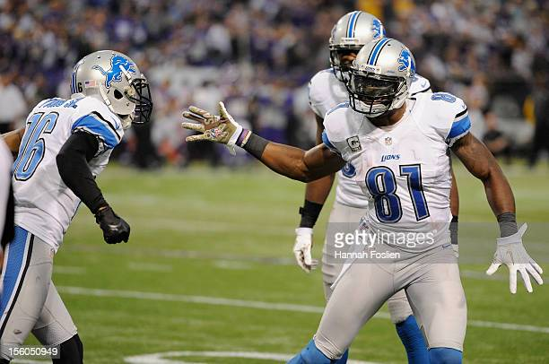 Calvin Johnson of the Detroit Lions congratulates Titus Young on a touchdown during the third quarter of the game against the Minnesota Vikings on...