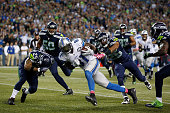 Calvin Johnson of the Detroit Lions runs with the ball during the fourth quarter against the Seattle Seahawks at CenturyLink Field on October 5 2015...