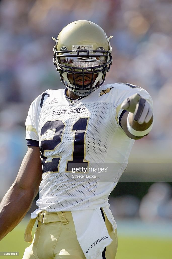 Calvin Johnson of the Georgia Tech Yellow Jackets points down the field during the game against the North Carolina Tar Heels on November 11 2006 at...