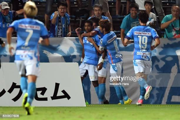 Calvin Jong A Pin of Yokohama FC celebrates the first goal during the JLeague J2 match between Yokohama FC and Mito Hollyhock at Nippatsu Mitsuzawa...
