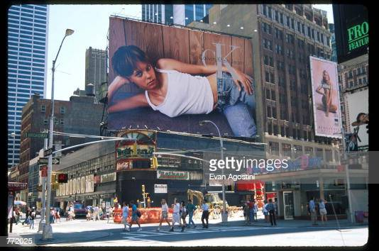 Calvin Klein advertisement is displayed on a billboard in Times Square August 23 1995 in New York City The advertising campaign which included print...