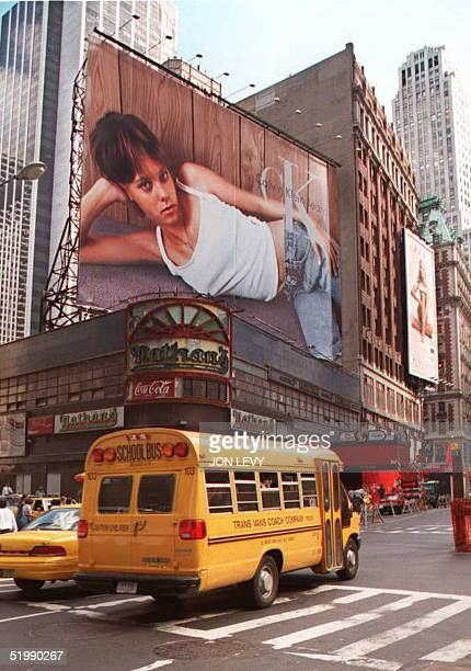 Calvin Klein Billboard towers over Times Square in New York 28 August The advertisement which is part of a wider TV and magazine ad campaign for...