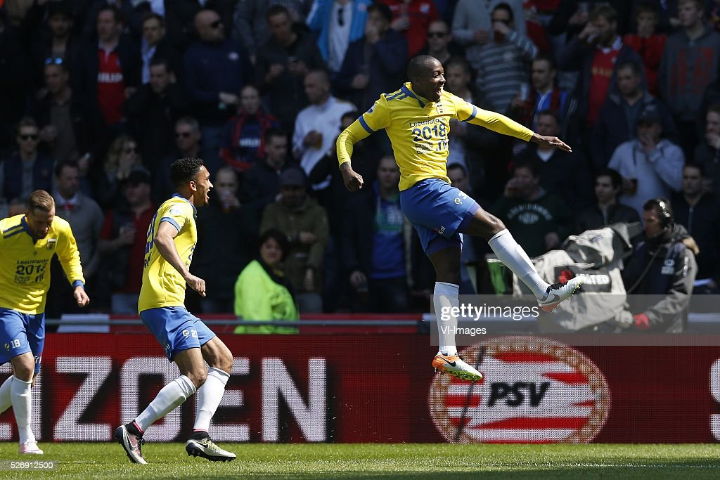 Calvin Mac-Intosch of SC Cambuur during the Dutch Eredivisie match between PSV Eindhoven and SC Cambuur Leeuwarden at the Phillips stadium on May 01, 2016 in Eindhoven, The Netherlands