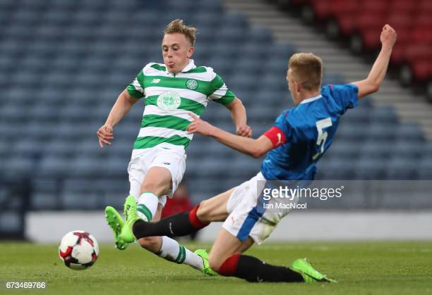 Calvin Miller of Celtic scores his team's second goal during The Scottish FA Youth Cup Final between Celtic and Rangers at Hampden Park on April 26...