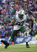 Calvin Pace of the New York Jets pass rushes during the second half against the Buffalo Bills at Ralph Wilson Stadium on January 03 2016 in Orchard...