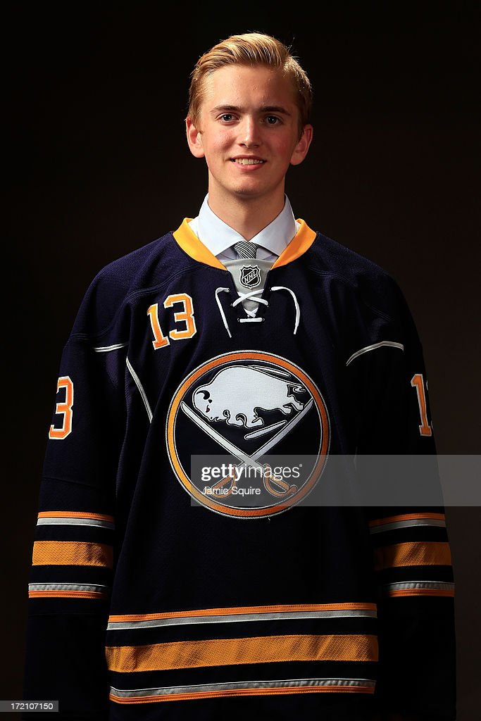 Calvin Petersen, 129th overall pick by the Buffalo Sabres, poses for a portrait during the 2013 NHL Draft at the Prudential Center on June 30, 2013 in Newark, New Jersey.