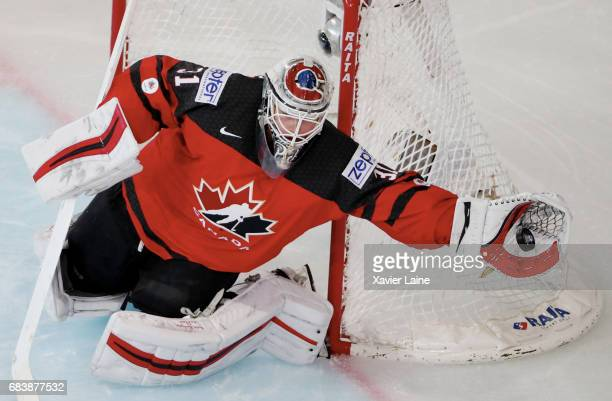 Calvin Pickard of Canada in action during the 2017 IIHF Ice Hockey World Championship game between Canada and Finland at AccorHotels Arena on May 16...