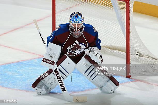Calvin Pickard of the Colorado Avalanche defends the goal against the Los Angeles Kings during their preseason game at the Pepsi Center on September...