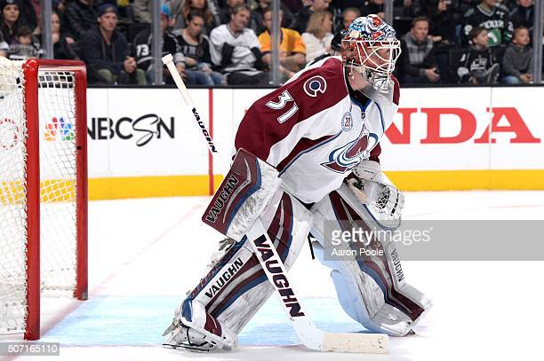 Calvin Pickard of the Colorado Avalanche defends the goal during a game against the Los Angeles Kings at STAPLES Center on January 27 2016 in Los...
