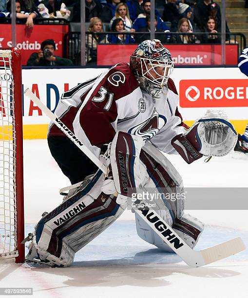 Calvin Pickard of the Colorado Avalanche during game action against the Toronto Maple Leafs on November 17 2015 at Air Canada Centre in Toronto...