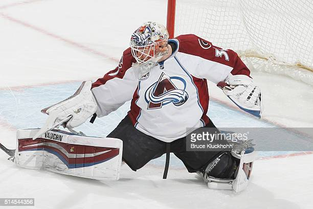 Calvin Pickard of the Colorado Avalanche makes a save against the Minnesota Wild during the game on March 1 2016 at the Xcel Energy Center in St Paul...