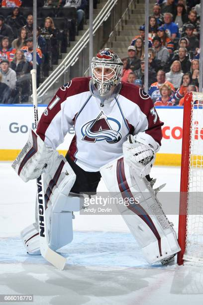 Calvin Pickard of the Colorado Avalanche prepares to make a save during the game against the Edmonton Oilers on March 25 2017 at Rogers Place in...