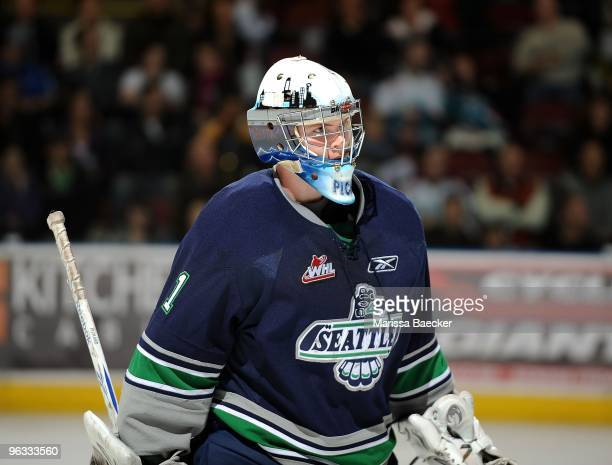 Calvin Pickard of the Seattle Thunderbirds defends the net against the Kelowna Rockets at Prospera Place on January 27 2010 in Kelowna Canada