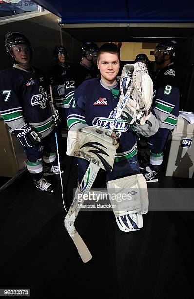 Calvin Pickard of the Seattle Thunderbirds poses for a photo prior to playing against the Kelowna Rockets at Prospera Place on January 27 2010 in...