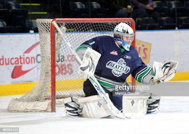 Calvin Pickard of the Seattle Thunderbirds warms up against the Kelowna Rockets at Prospera Place on January 27 2010 in Kelowna Canada