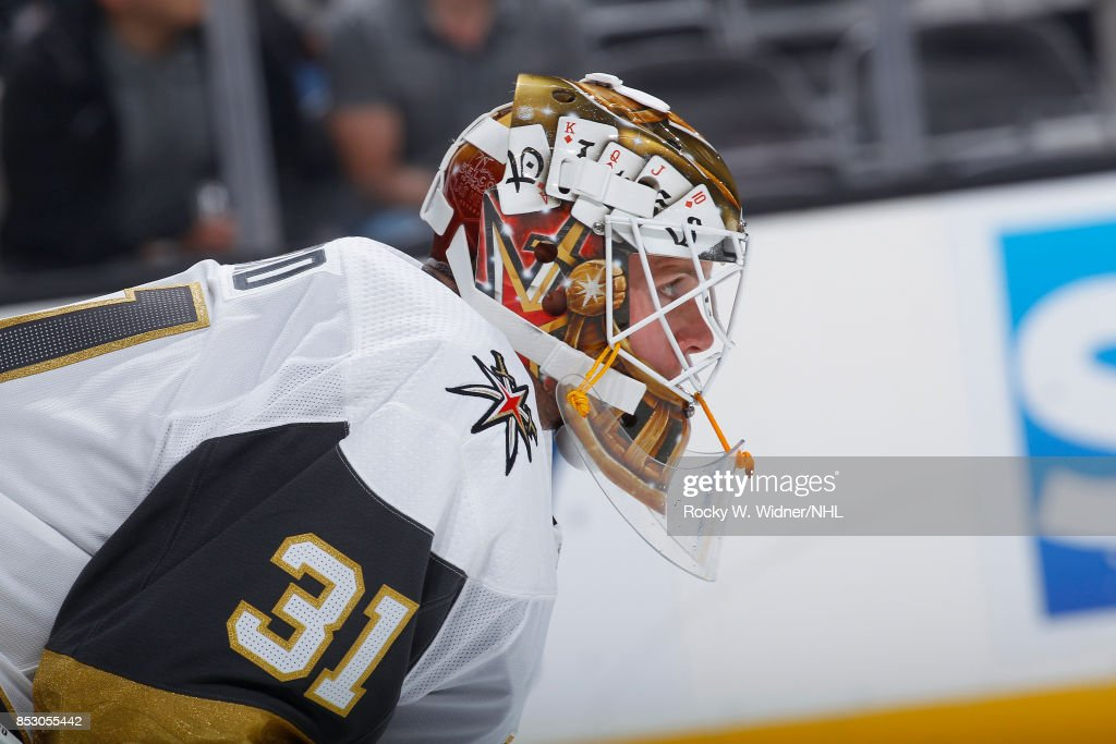 Calvin Pickard #31 of the Vegas Golden Knights looks on during the game against the San Jose Sharks at SAP Center on September 21, 2017 in San Jose, California.