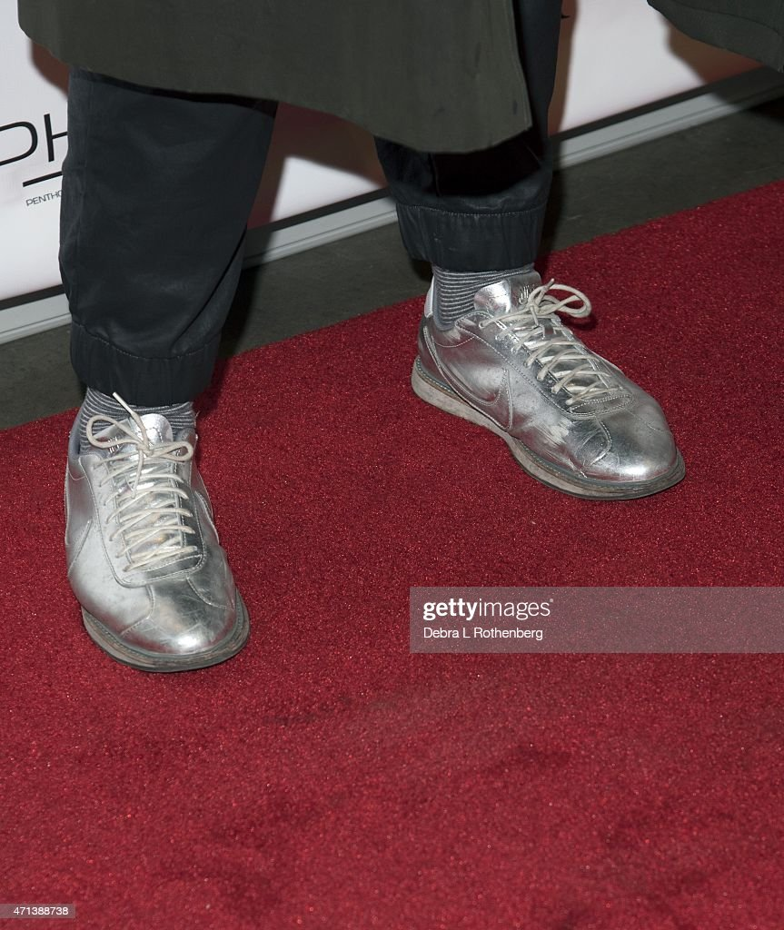 Calvin Play shoe detail attends DuJour Magazine's April Cover Celebration with Paris Hilton at PHD at the Dream Downtown on April 27 2015 in New York...