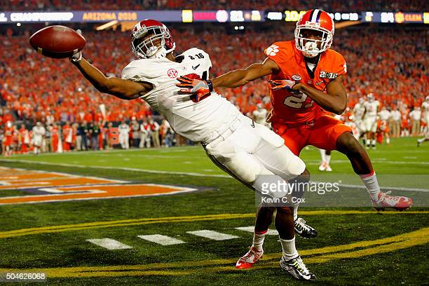 Calvin Ridley of the Alabama Crimson Tide misses a catch in the end zone in the fourth quarter against Adrian Baker of the Clemson Tigers during the...
