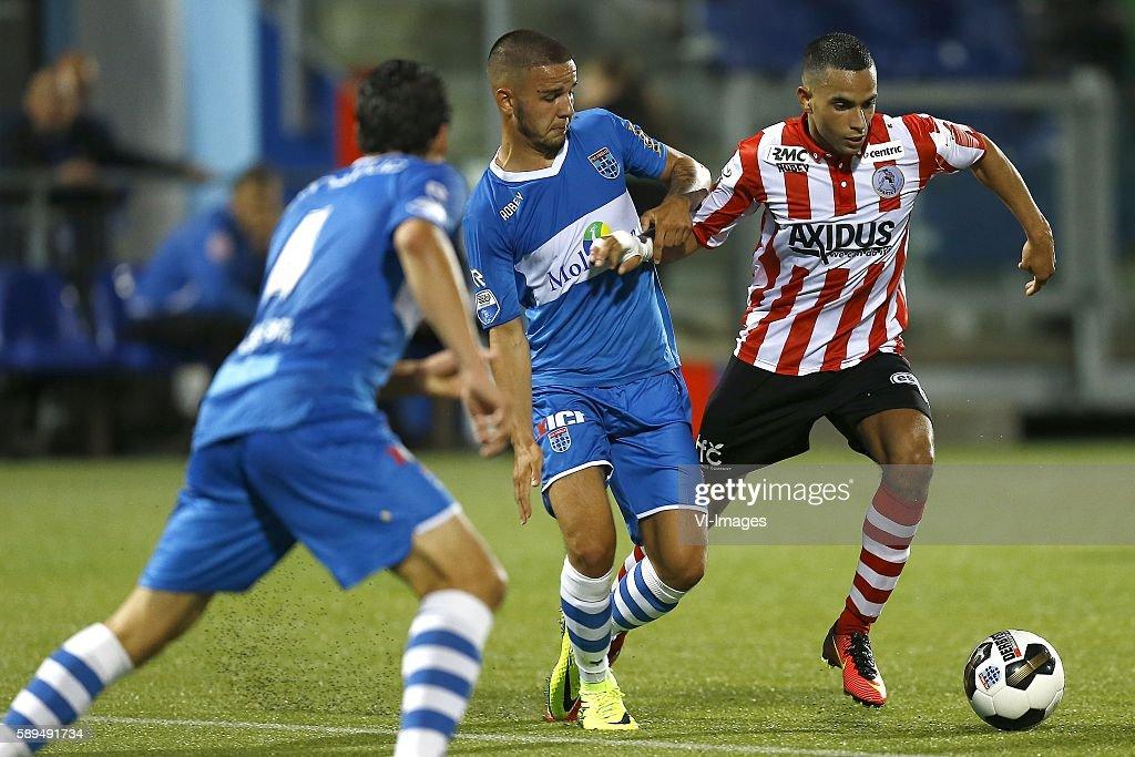 Calvin Verdonk Zakaria El Azzouzi during the Dutch Eredivisie match between PEC Zwolle and Sparta Rotterdam on august 13 2016 at the MAC#179PARK...