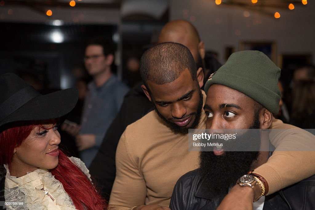Calyann Barnett-Watson, Chris Paul and <a gi-track='captionPersonalityLinkClicked' href=/galleries/search?phrase=James+Harden&family=editorial&specificpeople=4215938 ng-click='$event.stopPropagation()'>James Harden</a> during the <a gi-track='captionPersonalityLinkClicked' href=/galleries/search?phrase=Dwyane+Wade&family=editorial&specificpeople=201481 ng-click='$event.stopPropagation()'>Dwyane Wade</a> and Stance Stocks Spades Tournament at The One Eighty on February 11, 2016 in Toronto, Canada.