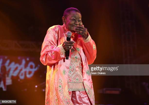 Calypso Rose who won the 2016 Best World Music Album award at the Victories de la Musique in Paris performs at the Machel Monday Journey of a Soca...