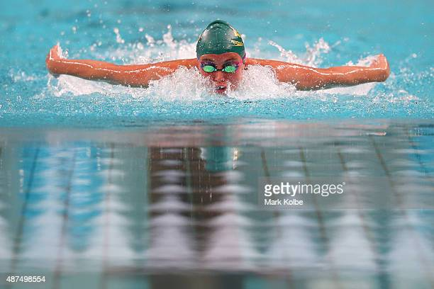 Calypso Sherida of Australia competes in the girls 200m Individual Medley final at the aquatic centre of the Tuanaimato Sports Facility on day four...