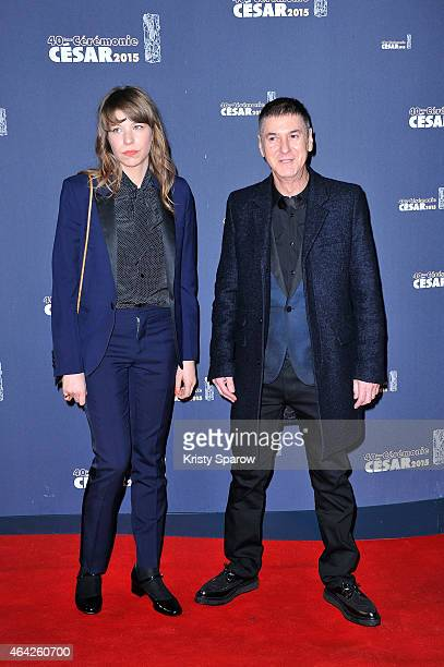 Calypso Valois and Etienne Daho attend the 40th Cesar Film Awards at Theatre du Chatelet on February 20 2015 in Paris France