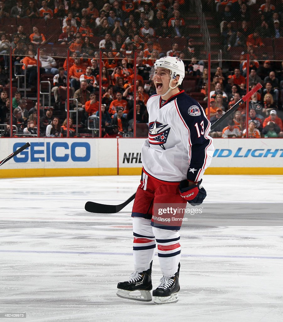 Cam Atkinson of the Columbus Blue Jackets celebrates a goal by Brandon Dubinsky at 320 of the third period against the Philadelphia Flyers at the...