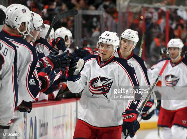 Cam Atkinson of the Columbus Blue Jackets celebrates a third period goal with teammates against the Philadelphia Flyers on March 13 2017 at the Wells...