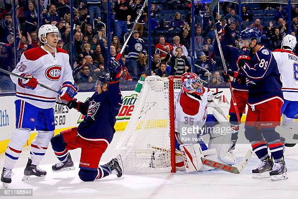 Cam Atkinson of the Columbus Blue Jackets celebrates after beating Al Montoya of the Montreal Canadiens for a goal during the second period on...