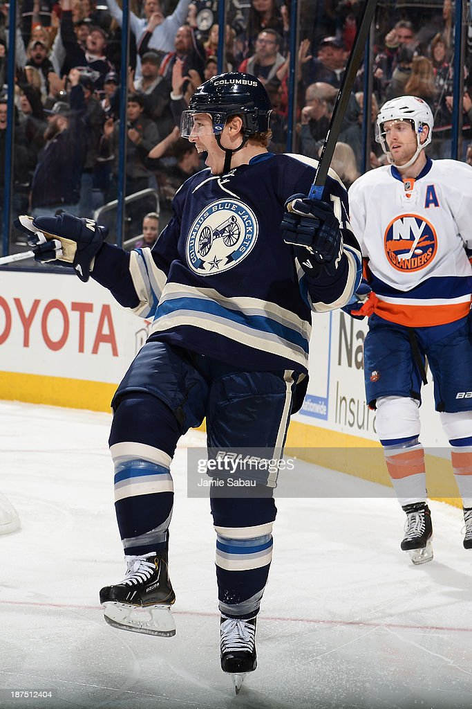 <a gi-track='captionPersonalityLinkClicked' href=/galleries/search?phrase=Cam+Atkinson&family=editorial&specificpeople=6270272 ng-click='$event.stopPropagation()'>Cam Atkinson</a> #13 of the Columbus Blue Jackets celebrates after scoring a goal during the third period on November 9, 2013 at Nationwide Arena in Columbus, Ohio. Columbus defeated New York 5-2.