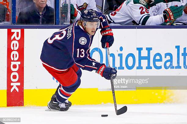 Cam Atkinson of the Columbus Blue Jackets controls the puck during the game against the Minnesota Wild on January 5 2016 at Nationwide Arena in...