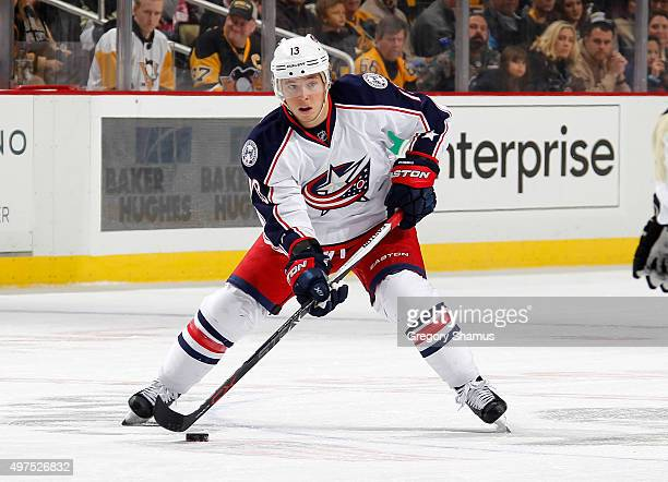 Cam Atkinson of the Columbus Blue Jackets moves the puck against the Pittsburgh Penguins at Consol Energy Center on November 13 2015 in Pittsburgh...