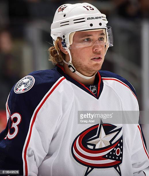 Cam Atkinson of the Columbus Blue Jackets prepares for a faceoff against the Toronto Maple Leafs during game action on April 6 2016 at Air Canada...