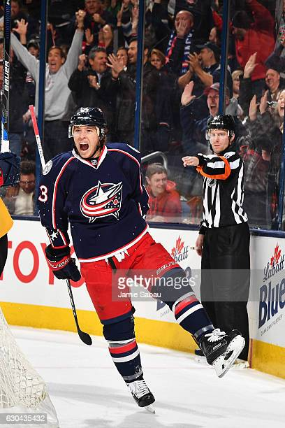 Cam Atkinson of the Columbus Blue Jackets reacts after scoring a goal during the first period of a game against the Pittsburgh Penguins on December...