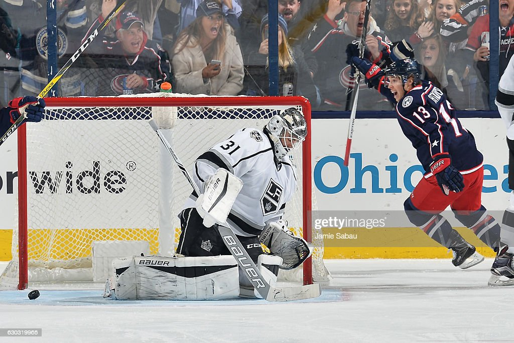Cam Atkinson #13 of the Columbus Blue Jackets reacts after scoring on goaltender Peter Budaj #31 of the Los Angeles Kings during the second period of a game on December 20, 2016 at Nationwide Arena in Columbus, Ohio.