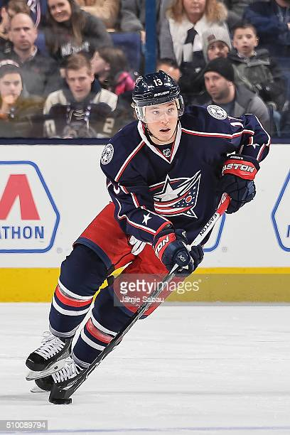 Cam Atkinson of the Columbus Blue Jackets skates against the Anaheim Ducks on February 11 2016 at Nationwide Arena in Columbus Ohio