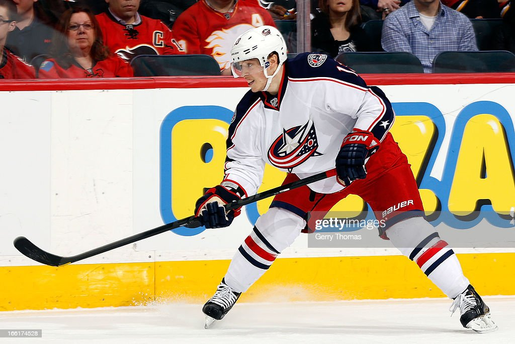 Cam Atkinson of the Columbus Blue Jackets skates against the Calgary Flames on March 29 2013 at the Scotiabank Saddledome in Calgary Alberta Canada...