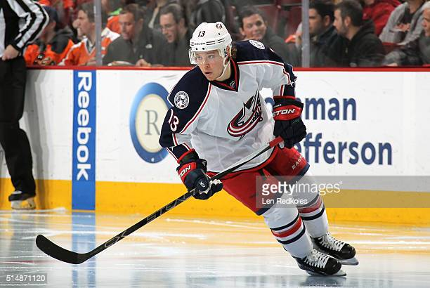 Cam Atkinson of the Columbus Blue Jackets skates against the Philadelphia Flyers on March 5 2016 at the Wells Fargo Center in Philadelphia...