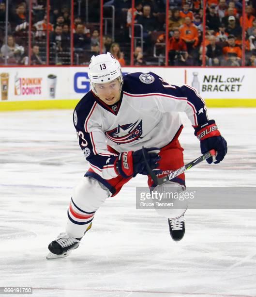 Cam Atkinson of the Columbus Blue Jackets skates against the Philadelphia Flyers at the Wells Fargo Center on April 8 2017 in Philadelphia...