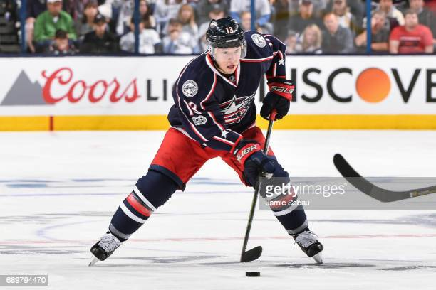 Cam Atkinson of the Columbus Blue Jackets skates against the Pittsburgh Penguins in Game Three of the Eastern Conference First Round during the 2017...
