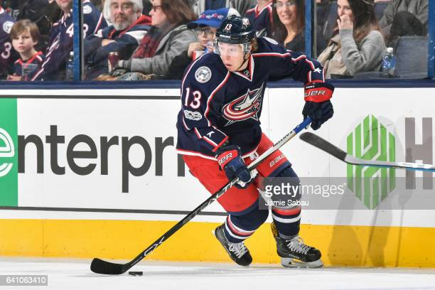 Cam Atkinson of the Columbus Blue Jackets skates against the New Jersey Devils on February 4 2017 at Nationwide Arena in Columbus Ohio