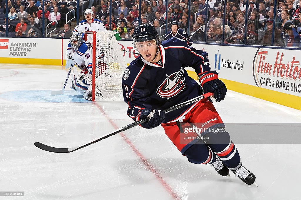 Cam Atkinson of the Columbus Blue Jackets skates against the New York Rangers on October 9 2015 at Nationwide Arena in Columbus Ohio