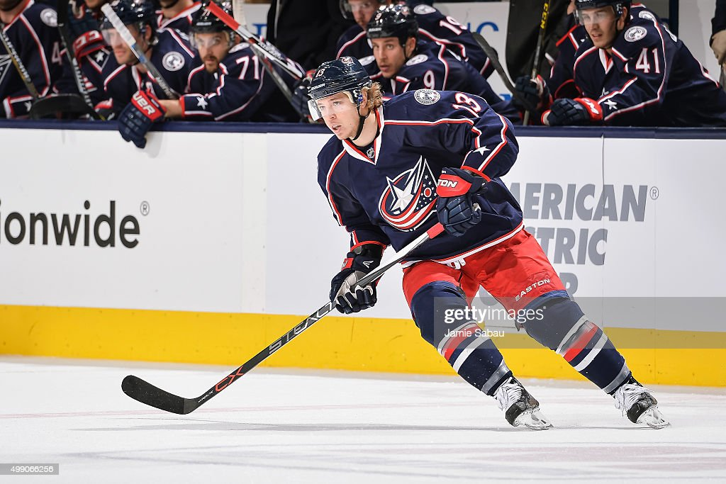Cam Atkinson of the Columbus Blue Jackets skates against the Pittsburgh Penguins on November 27 2015 at Nationwide Arena in Columbus Ohio